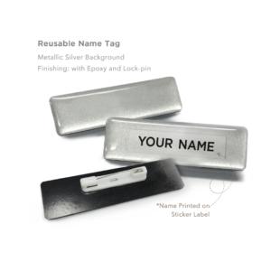 Reusable Name Tag Silver
